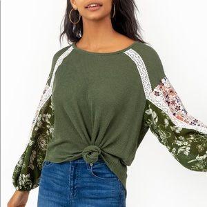 Francescas Floral Contrast Sleeve Olive Green top